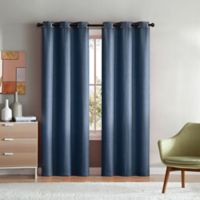 VCNY Home Mason Check 96-Inch Grommet Top Window Curtain Panel Pair in Indigo