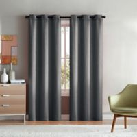 VCNY Home Mason Check 84-Inch Grommet Top Window Curtain Panel Pair in Silver