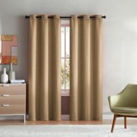 VCNY Home Mason Check 84-Inch Grommet Top Window Curtain Panel Pair in Natural