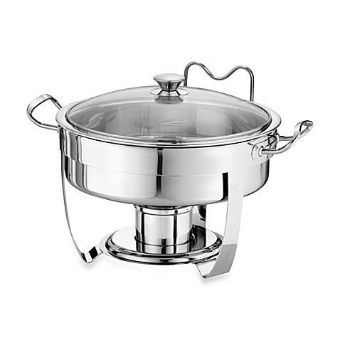 tramontina 5quart round stainless steel chafing dish with glass lid