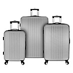 Elite Versatile 3-Piece Hardside Spinner Luggage Set in Silver