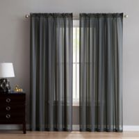 VCNY Home Stefan Stripe Sheer 84-Inch Rod Pocket Window Curtain Panel in Grey