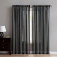 VCNY Home Stefan Stripe Sheer 95-Inch Rod Pocket Window Curtain Panel in Grey