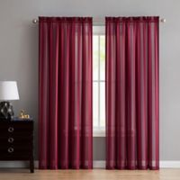 VCNY Home Stefan Stripe Sheer 84-Inch Rod Pocket Window Curtain Panel in Red