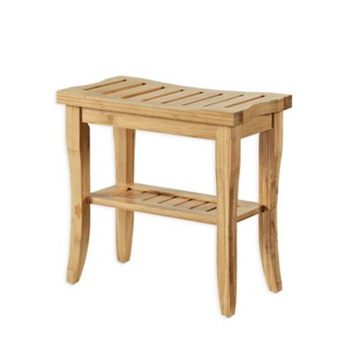 Linon Home Bracken 15 Inch Bamboo Stool With Shelf