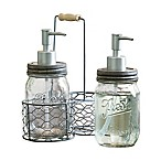 3-Piece Glass Jar Dispenser Wire Caddy Set