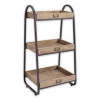 Linon Home 3-Tier Bath Stand in Rustic Brown