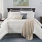 Landon Stria Stripe King Comforter Set in Grey/Tan