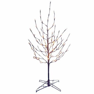 kurt adler 4 foot twig tree in brown with white led lights - White Outdoor Christmas Tree