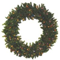 Darice 24-Inch Pre-Lit Battery-Operated Multicolor LED Wreath in Green