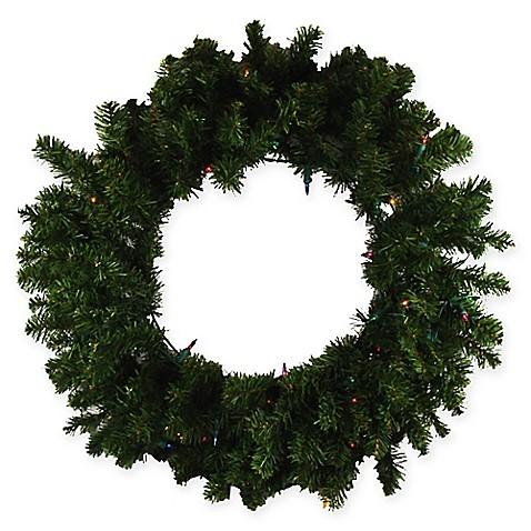 Darice 24 Inch Pre Lit Multicolor Led Wreath In Green