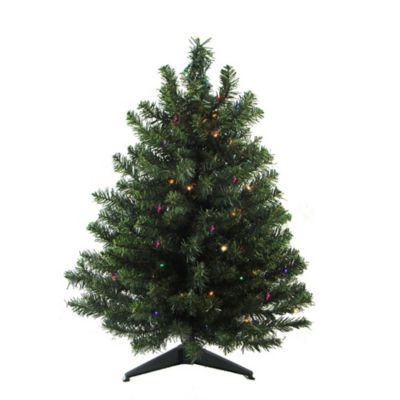 Darice® 3 Foot Pre Lit Battery Operated Artificial Christmas Tree With 100