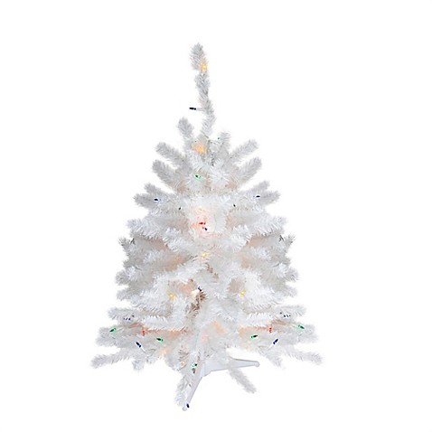 18-Inch Artificial Pre-Lit Christmas Tree in White with Multicolor ...