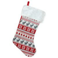 Northlight Knit Christmas Stocking with Faux Fur Cuff in Red/Green