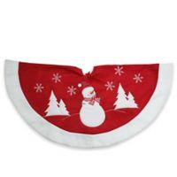 Winter Snowman Embroidered Christmas Tree Skirt