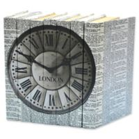Leather Books Vintage Newsprint London Clock Re-Bound Decorative Books in Black (Set of 7)