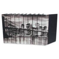 Leather Books English Novels Brooklyn Bridge Re-bound Decorative Books in Black (Set of 10)