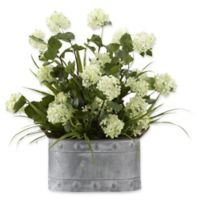 D&W Silks Snowball Branches with Grass in Grey Metal Planter