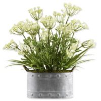 D&W Silks Queen Anne's Lace and Grass in Grey Metal Planter