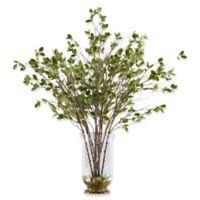 D&W Silks Budding Branches in Glass Hurricane Vase