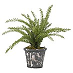D&W Silks Green Heather Plant in Grey Rustic Terra-Cotta Pot