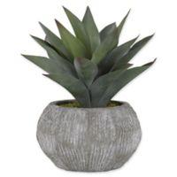 D&W Silks Green Aloe Plant in Grey Ceramic Planter