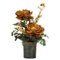 D&W Silks Caramel Brown Peonies in Rustic Ceramic Planter