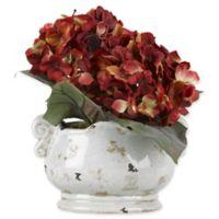 D&W Silks Red Hydrangeas in Off-White Ceramic Planter
