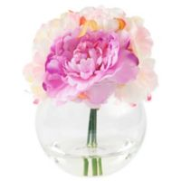 Pure Garden 7.5-Inch Peony Artificial Arrangement in Pink with Clear Glass Vase
