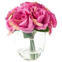 Pure Garden 8-Inch Rose Artificial Arrangement in Pink with Clear Glass Vase