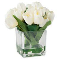 Pure Garden 8.5-Inch Tulip Arrangement in Clear Glass Vase