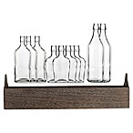 Home Essentials and Beyond 11-Piece Clear Glass Bottles and Wood Tray Set