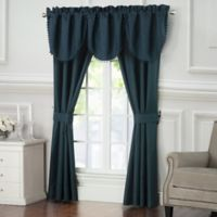Waterford® Leighton 84-Inch Rod Pocket/Back Tab Window Curtain Panel Pair in Midnight