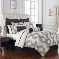 Waterford® Vienna Reversible Queen Comforter Set in Ivory/Black