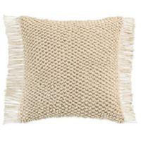 KAS Raina Macramé Square Throw Pillow in Ivory