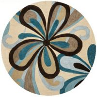 KAS Milan Groove 5'6 Round Area Rug in Sand/Teal