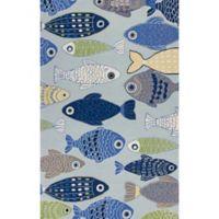 KAS Sonesta Sea of Fish Hand-Tufted 3'3 x 5'3 Area Rug in Blue