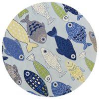 KAS Sonesta Sea of Fish Hand-Tufted 7'6 Round Area Rug in Blue