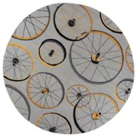 KAS Sonesta Wheels in Motion Hand-Tufted 7'6 Round Area Rug in Grey
