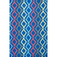 """KAS Shelby Groove 6'6"""" x 9'6"""" Area Rug in Blue"""