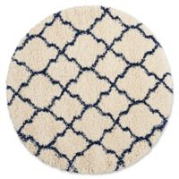 Nourison Amore Amor2 3-Foot 11-Inch Round Accent Rug in Ivory/Blue