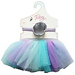 Toby™ Newborn 2-Piece Peacock Princess Tutu and Lace Crown Set in Purple/Aqua