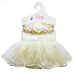 Toby 2-Piece Size 0-12M Vintage Lace Tutu and Headband Set in Ivory