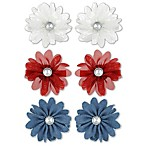 Capelli New York 6-Pack Americana Gemstone Flower Hair Clips in Red/Blue/White