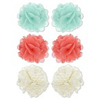 Capelli New York 6-Pack Chiffon and Mesh Hair Clips in Coral/Mint/White