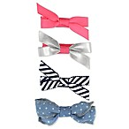 Capelli New York 4-Pack Mini Bow Hair Clips in Pink/White/Stripe/Chambray
