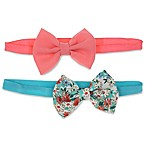 Capelli New York 2-Pack Bow Headbands in Floral/Coral