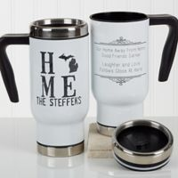 """State"" of Love 14 oz. Travel Mug in White"