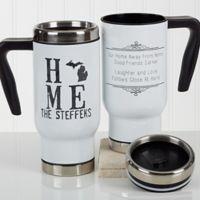 """State"" of Love 14 oz. Travel Mug in White"
