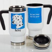 Top Dog 14 oz. Travel Mug in White